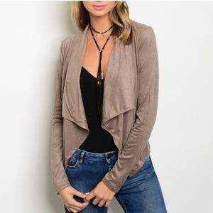 New Cheyann Taupe Suede Open Cardigan